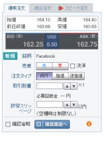 facebookのCFDスプレッド差