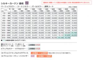 タチカワブラインド価格表