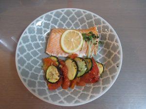 グリルサーモン焼き野菜添え完成